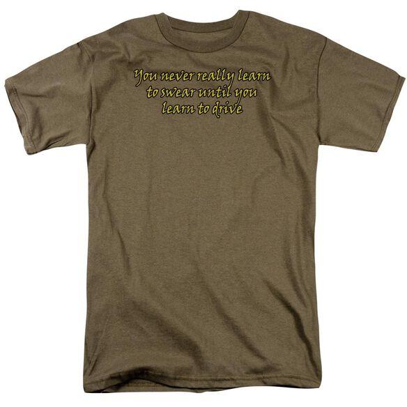 Learn To Swear Short Sleeve Adult Safari Green T-Shirt