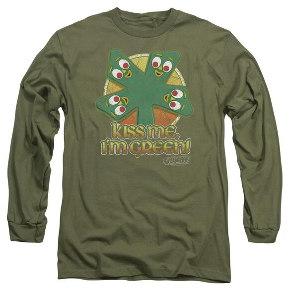 GUMBY KISS ME - L/S ADULT 18/1 - MILITARY GREEN T-Shirt