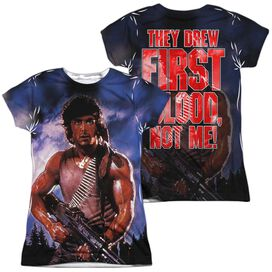 Rambo:First Blood Drew First (Front Back Print) Short Sleeve Junior Poly Crew T-Shirt