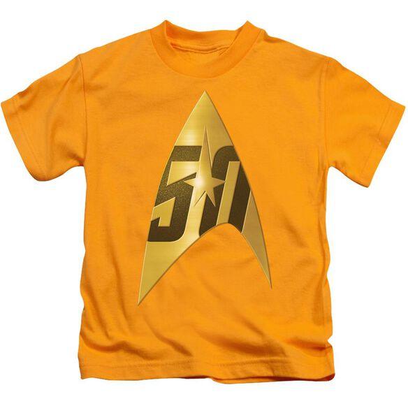 Star Trek 50 Th Anniversary Delta Short Sleeve Juvenile Gold T-Shirt