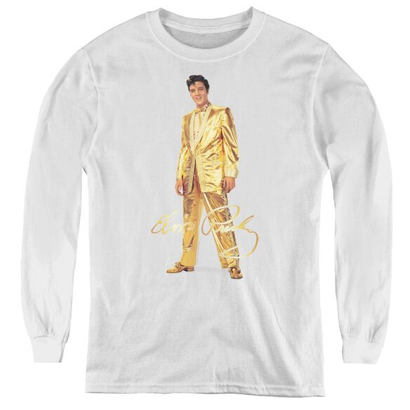 Elvis Presley Gold Lame Suit - Youth Long Sleeve Tee - White
