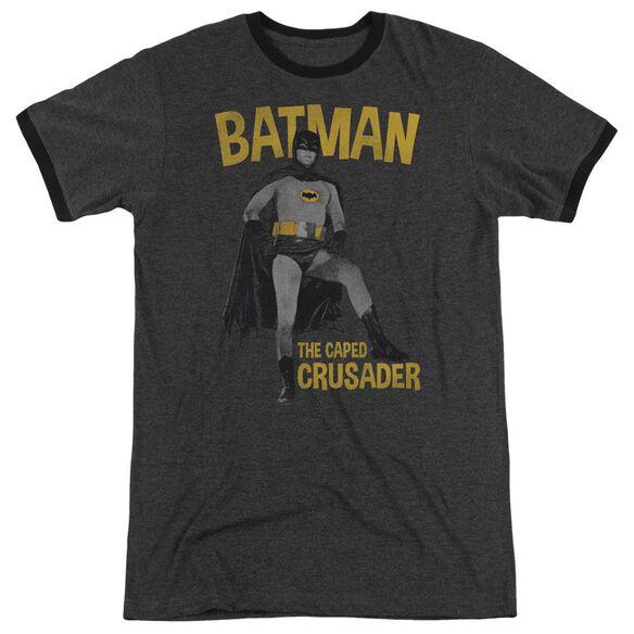 Batman Classic Tv Caped Crusader Adult Heather Ringer Charcoal