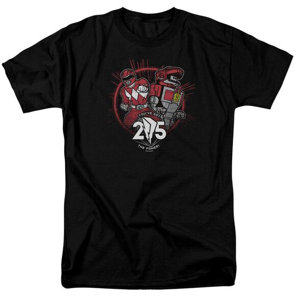 Power Rangers Red 25 Short Sleeve Adult Black T-Shirt