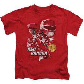 Power Rangers Red Ranger Short Sleeve Juvenile Red T-Shirt