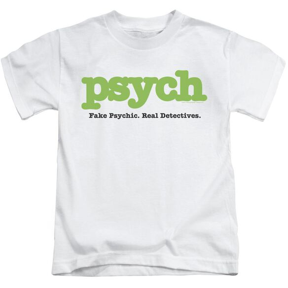 Psych Title Short Sleeve Juvenile White Md T-Shirt