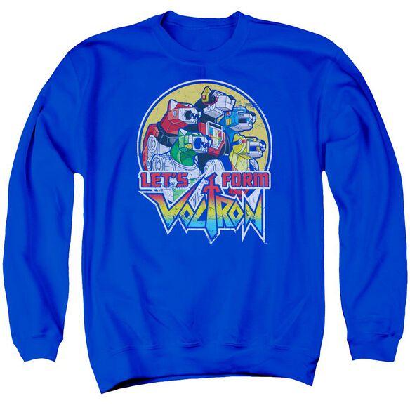 Voltron Let's Form Adult Crewneck Sweatshirt Royal