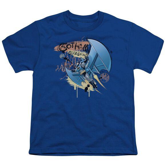 Batman Knight Flight Short Sleeve Youth Royal T-Shirt