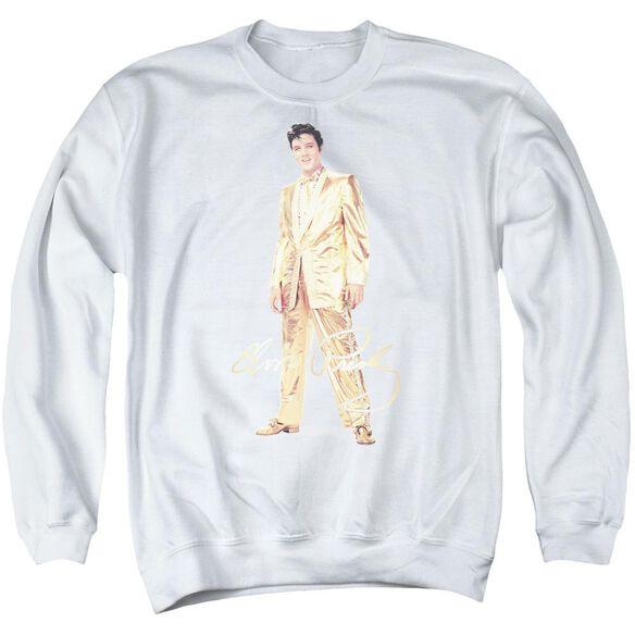 Elvis Presley Gold Lame Suit - Adult Crewneck Sweatshirt - White