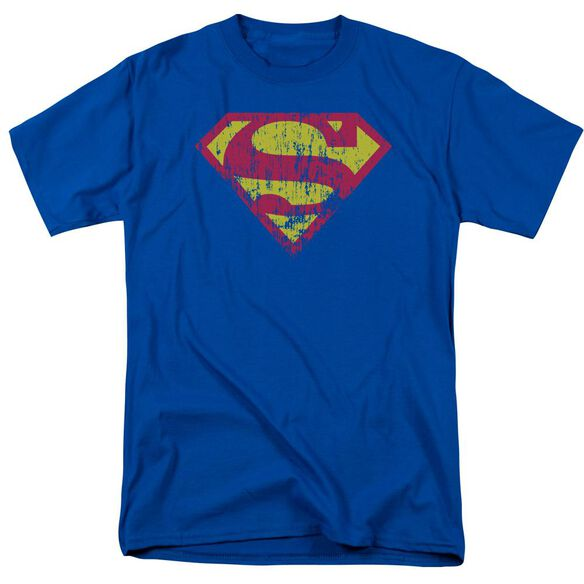 Superman Classic Logo Distressed Short Sleeve Adult Royal T-Shirt