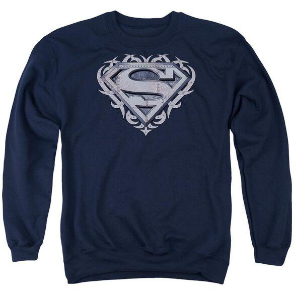 Superman Tribal Steel Shield Adult Crewneck Sweatshirt