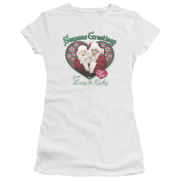 I LOVE LUCY SEASONS GREETINGS - S/S JUNIOR SHEER - WHITE T-Shirt