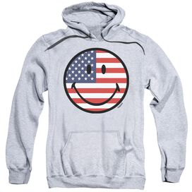 Smiley World American Flag Face Adult Pull Over Hoodie Athletic