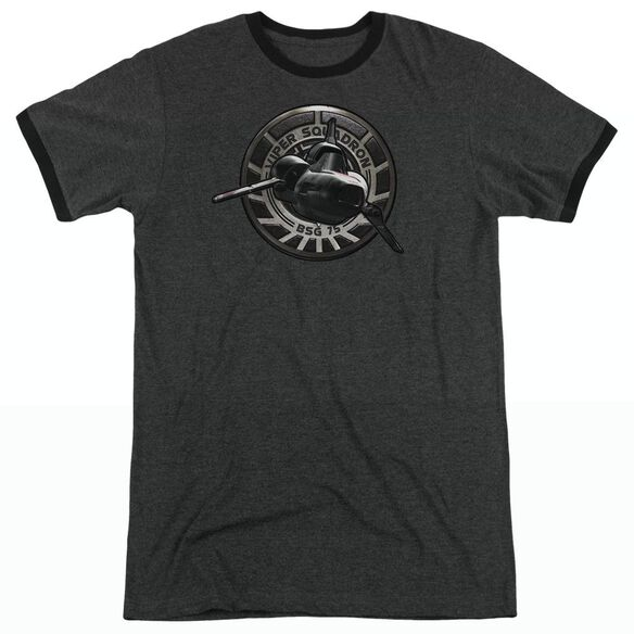 Bsg Viper Squadron - Adult Heather Ringer - Charcoal
