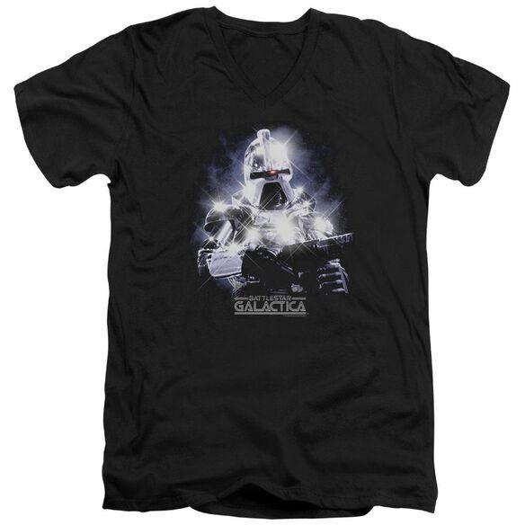 BSG 35TH ANNIVERSARY CYLON - S/S ADULT V-NECK - BLACK T-Shirt