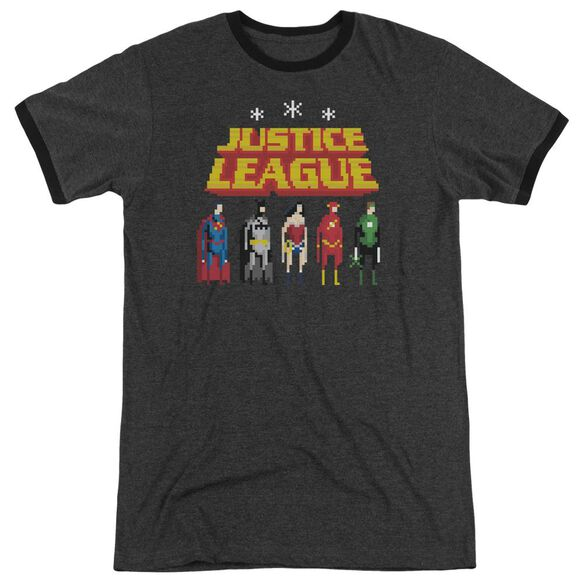 Jla Standing Below Adult Heather Ringer Charcoal