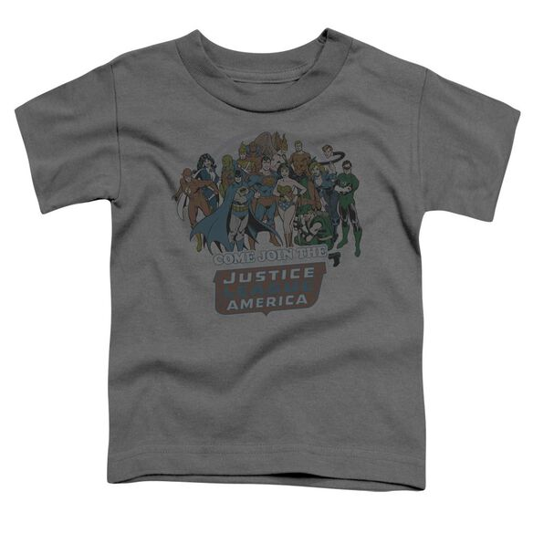 Dc Join The Justice League Short Sleeve Toddler Tee Charcoal Sm T-Shirt
