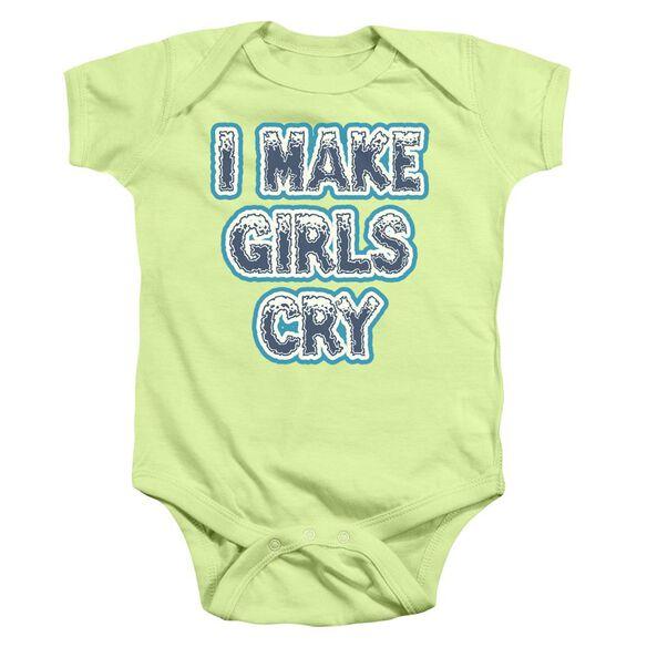 I Make Girls Cry Infant Snapsuit Soft Green Lg