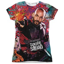Suicide Squad Deadshot Psychedelic Cartoon Short Sleeve Junior Poly Crew T-Shirt