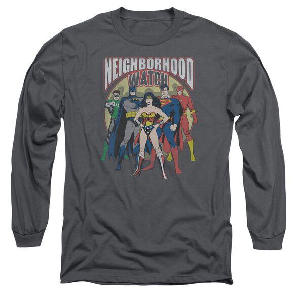 Jla Neighborhood Watch Long Sleeve Adult T-Shirt
