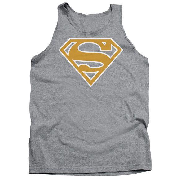 Superman Lt Orange & White Shield Adult Tank Athletic
