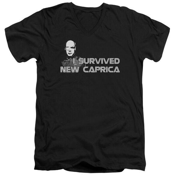 BSG I SURVIVED NEW CAPRICA - S/S ADULT V-NECK - BLACK T-Shirt