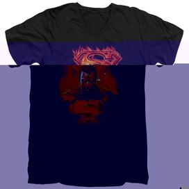SUPERMAN MAN ON FIRE - S/S ADULT V-NECK - BLACK T-Shirt
