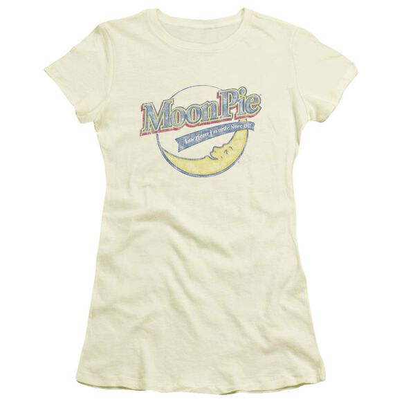 Moon Pie Distressed Retro Logo Short Sleeve Junior Sheer T-Shirt