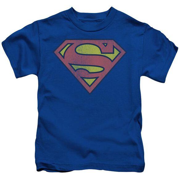 Dc Retro Supes Logo Distressed Short Sleeve Juvenile Royal Blue Md T-Shirt