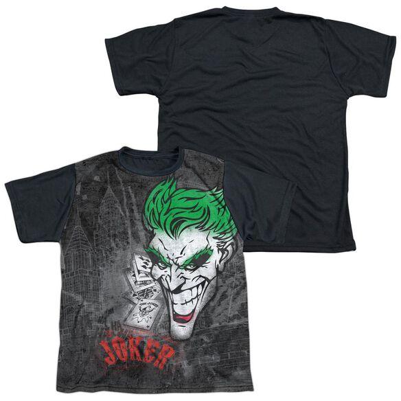 Batman Joker Sprays The City Short Sleeve Youth Front Black Back T-Shirt