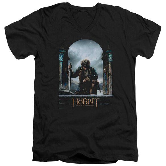 Hobbit Bilbo Poster Short Sleeve Adult V Neck T-Shirt