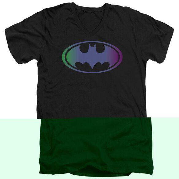 BATMAN GRADIENT BAT LOGO - S/S ADULT V-NECK - BLACK T-Shirt