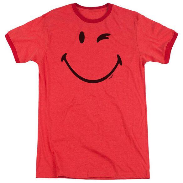 Smiley World Big Wink Adult Heather Ringer Red