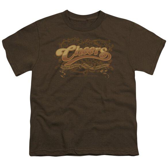 CHEER CROLLED LOGO - S/S YOUTH 18/1 - COFFEE T-Shirt