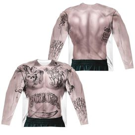 Suicide Squad Joker Tattoos (Front Back Print) Long Sleeve Adult Poly Crew T-Shirt