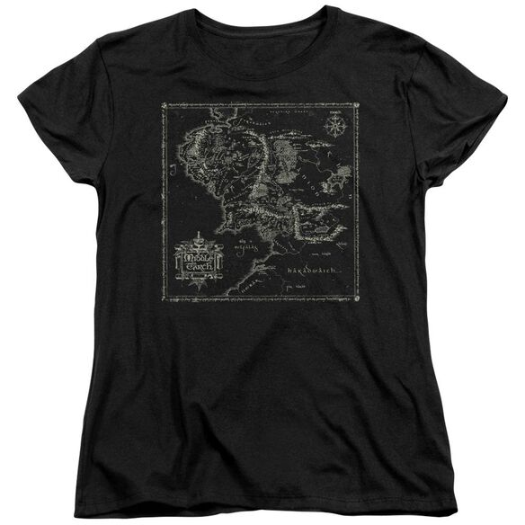Lord Of The Rings Map Of Me Short Sleeve Womens Tee T-Shirt