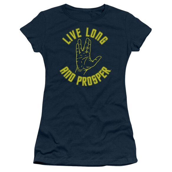 Star Trek Live Long Hand Short Sleeve Junior Sheer T-Shirt
