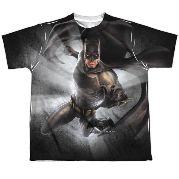 Batman Vs Superman Batman Light Short Sleeve Youth Poly Crew T-Shirt