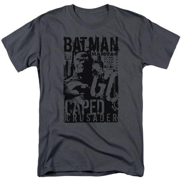 Batman Caped Crusader Short Sleeve Adult Charcoal T-Shirt