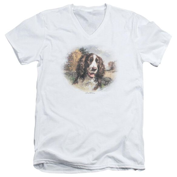 Wildlife Springer Spaniel Head Short Sleeve Adult V Neck T-Shirt