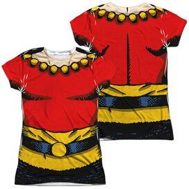 Flash Gordon Flash Costume (Front Back Print) Short Sleeve Junior Poly Crew T-Shirt