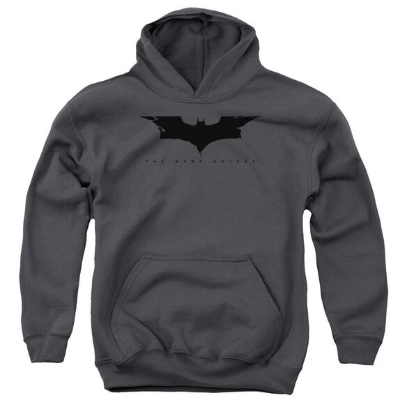 Dark Knight Cracked Bat Logo Youth Pull Over Hoodie