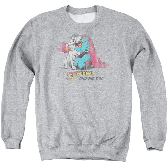 Superman And His Dog Adult Crewneck Sweatshirt Athletic