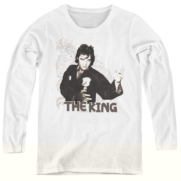 Elvis Presley Fighting King - Womens Long Sleeve Tee - White