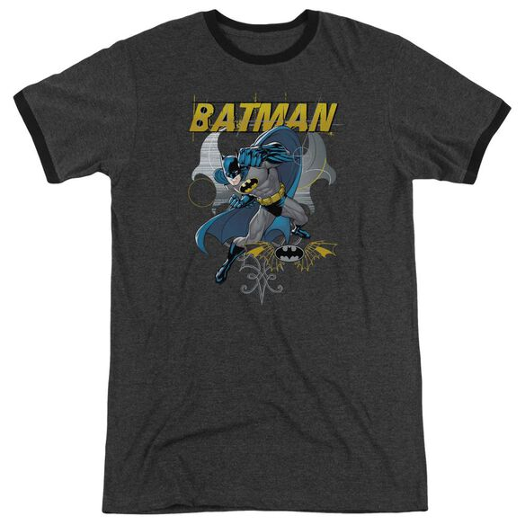 Batman Urban Gothic Adult Heather Ringer Charcoal