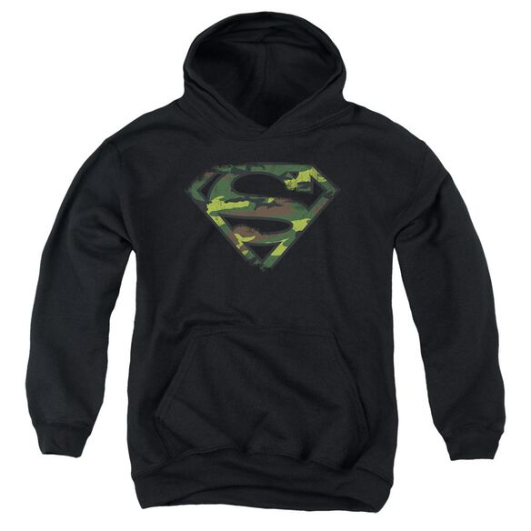 Superman Distressed Camo Shield Youth Pull Over Hoodie