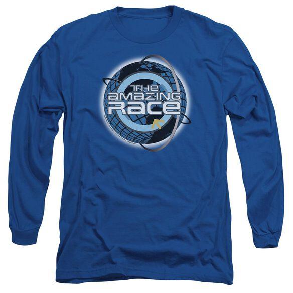 Amazing Race Around The Globe Long Sleeve Adult Royal T-Shirt