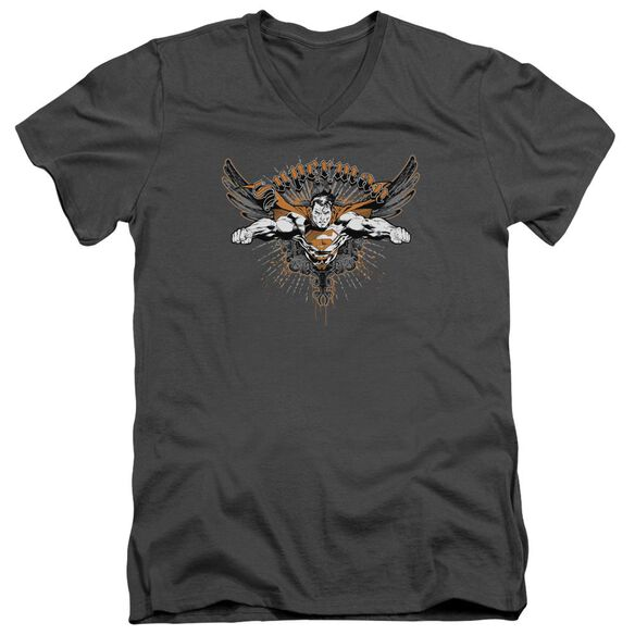 SUPERMAN TAKE WING - S/S ADULT V-NECK - CHARCOAL T-Shirt