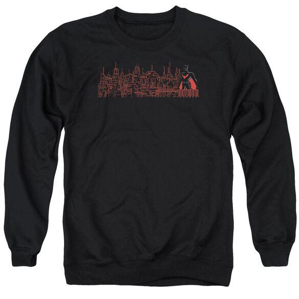 Batman Beyond Neo Gotham Skyline Adult Crewneck Sweatshirt