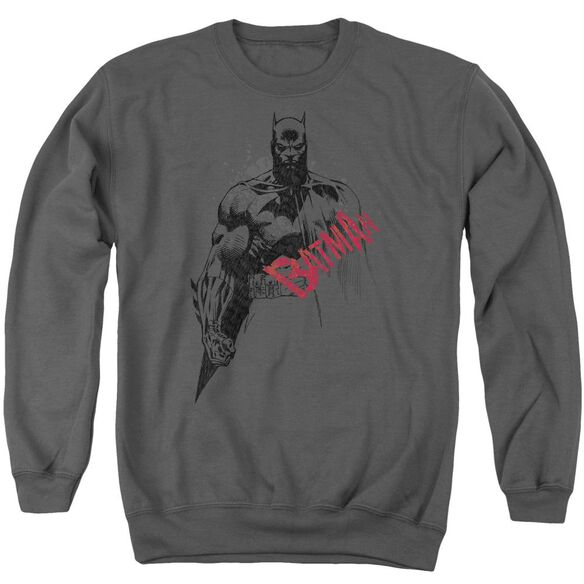 Batman Sketch Bat Red Logo Adult Crewneck Sweatshirt