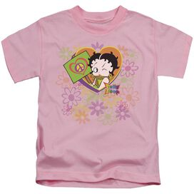 Betty Boop Peace Love And Boop Short Sleeve Juvenile Pink T-Shirt